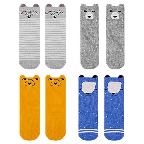 ANBET 4 paquetes de medias hasta la rodilla para bebés, calcetines hasta la rodilla Cartoon antideslizantes para niños pequeños para bebés y niños pequeños (0~2 años)