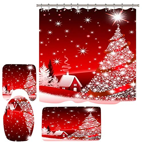 zhangwei Shower Curtains for Bathroom, Christmas Shower Curtain Set for Bathroom, Winter Holiday Festival New Year Shower Curtain Sets with 12 Hooks and Non-Slip Rugs, Bath Mat, Toilet Lid Cover