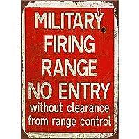 2個 軍用射撃場範囲制御からのエントリなし錆金属サイン男洞窟金属サイン8X12インチ