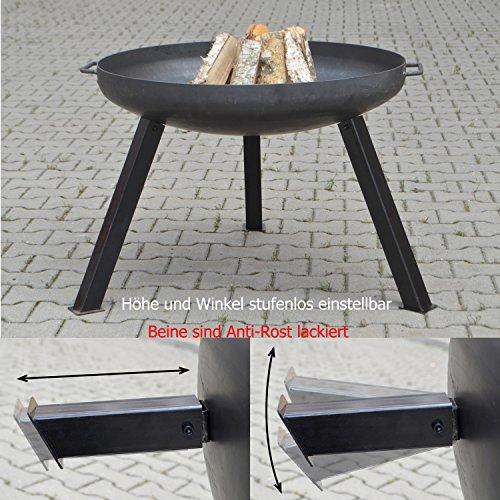 Köhko Feuerschale + 2 Griffen + 3 lackierten Beine Anti-Rost (40 cm eckig) 41004E