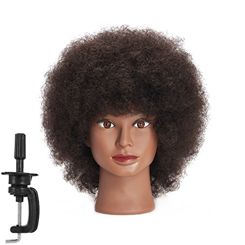 Traininghead 10'' Afro Mannequin Head With 100% Human Hair Training Head Manikin Cosmetology Doll Head For Hairdresser With Clamp Stand (10 inches)