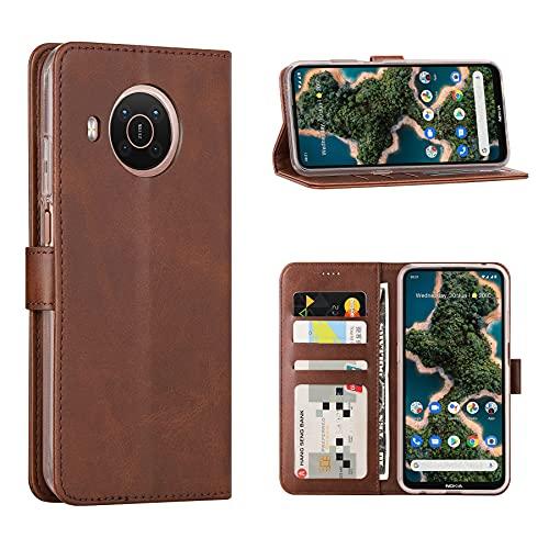 Cresee Kompatibel mit Nokia X20 5G Hülle, PU Leder Handyhülle mit 3 Kartenfächer, Schutzhülle Hülle Tasche Magnetverschluss Flip Cover Stoßfest für Nokia X20 (Braun)