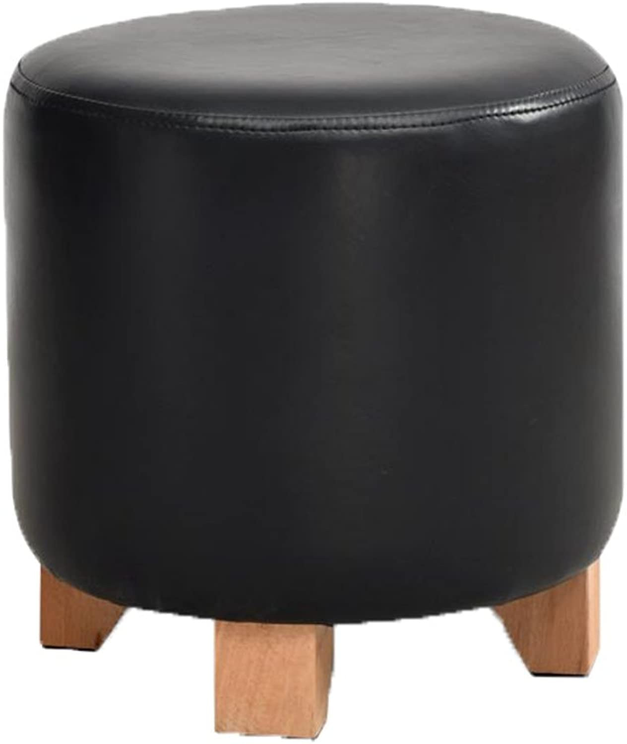 European Chair Solid Wood Leather Stool, Sofa Stool, Low Stool, Fashion Dressing Stool, Creative shoes Bench (color   B, Size   29x30cm)