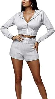 Women 2 Piece Sportsuit Front Zipper Hooded Crop Top Short Pants Set