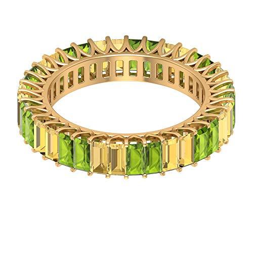 Anillo de boda clásico, 2 ct 2 x 4 mm, anillo de baguette citrino, anillo de peridoto de 2 ct, anillo de piedra natal agosto, delicado anillo de dama de honor, 18K Oro amarillo, Size:EU 44
