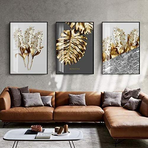 MENG Frameless painting Nordic gold foil abstract flower wall art canvas painting feather poster decorationZGQ5524 30X40cm,Size:40x60cmx3,Colour:3pcs Background wall painting