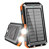 Solar Charger, Benfiss 20000mAh Solar Power Bank, Waterproof Portable External Backup Battery with 2 LED Light,Carabiner and Compass(Black with Orange)