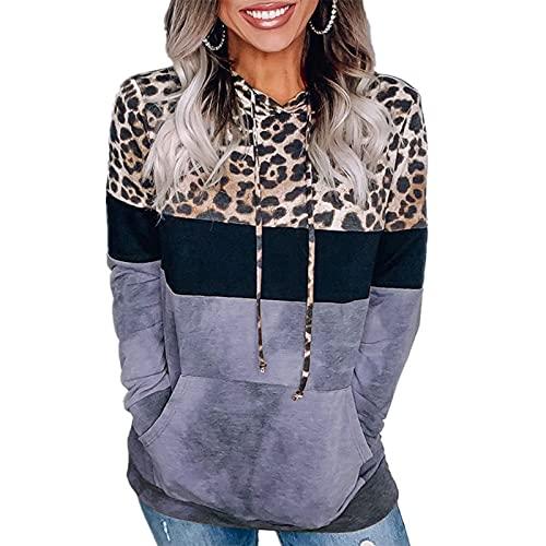 FMYONF Sudadera con capucha para mujer, diseo de leopardo, color bloque de colores, jersey a rayas, informal, sudadera con capucha, manga larga, con cordn, parte superior con bolsillos, azul, XL