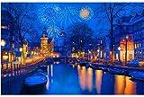 Dobobo Rompecabezas de Madera 3000 Piezas-Rompecabezas para Adultos y familias - Amsterdam in The Night Puzzle