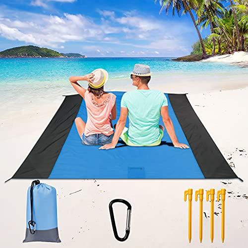 OurWarm Strandmatte Picknickdecke, 210 x 200 cm, extra große Stranddecke, sanddicht, wasserdicht, Picknick-Matte, Outdoor, leichte Stranddecke mit 4 festen Nägeln für Strand,