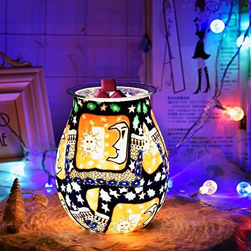 HaavPoois 3D cera de vidrio quemadores de aceite eléctrico derretimiento aroma lámpara casa azul ambiente romántico noche Ligh dormitorio hogar salón regalos decoración