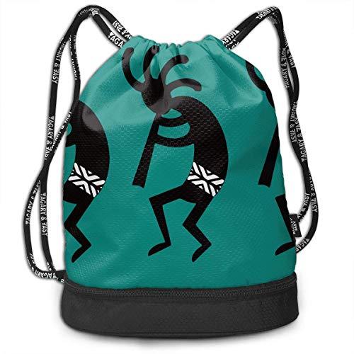 PmseK Sac à Dos imprimé avec Cordon de Serrage, Teal and Black Kokopelli Southwest Design Draw String Backpack Bags Gym Cinch Storage Bag for Traveling Hiking