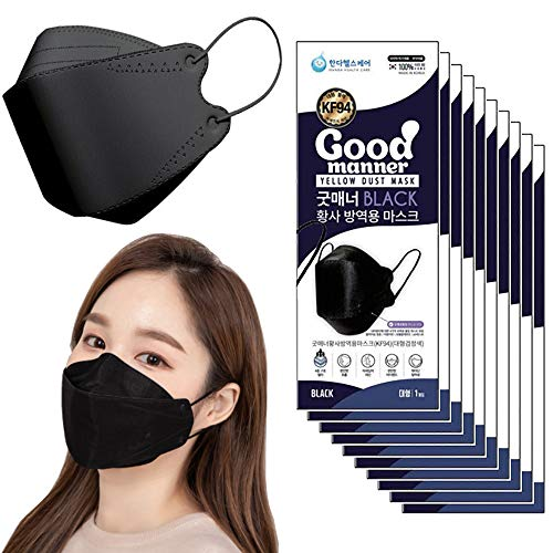 REUZBL KF94 Face Mask Protective Covering Black Made in Korea, Easy to Breathe Comfortable Stylish Design with Anti-Fog Nose Clip (Black, 25-Pack)