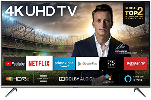 TCL 55EP640 139 cm Fernseher (55 Zoll) Smart TV (4K UHD, HDR 10, Triple Tuner, Android TV, Micro Dimming, Prime Video, Alexa und Google Assistant) Schwarz