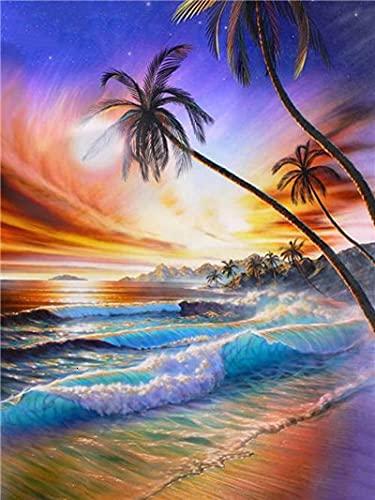 Pintura de diamante DIY paisaje puesta de sol mar punto de cruz cuadrado completo taladro bordado hecho a mano decoración de la pared de la habitación del hogar A2 45x60cm