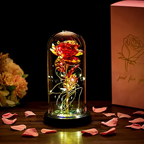 Beauty and the Beast Rose in Glass Dome Forever Rose Flower Kit Enchanted...