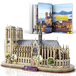 CubicFun National Geographic 3D Puzzle for Adults Kids Notre Dame de Paris Model Kits France Architecture Gothic Cathedral Model Building Puzzles with Booklet, Gifts for Woman Men, 128 Pieces by Cubicfun