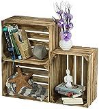 LAUBLUST 3er Set Große Vintage Holzkisten - 40x30x25cm, Geflammt, Neu, Unbenutzt | Möbel-Kiste | Wein-Kiste | Obst-Kiste | Apfel-Kiste | Deko-Kiste aus Holz