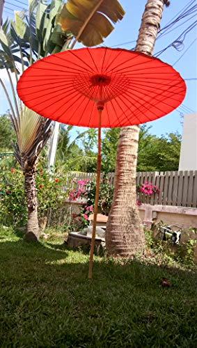 Nature Lounge 24 Sonnenschirm aus Bambus - Bambusschirm in 2 Farben Farbe Orange