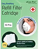 eGeePro Easy Breathing Disposable 3-Ply Refill Filters (50 Pcs) for eGeePro Reusable Face MASK (Model No. 9501). Great for Offices, Work Sites, Shopping Malls & Schools