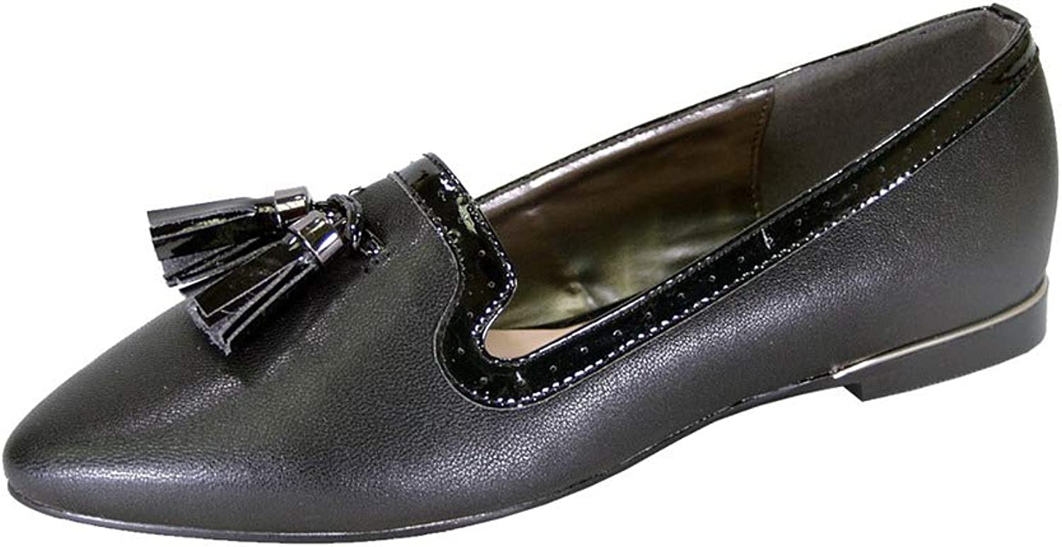 Peerage Brenna Women Wide Width Comfort Leather Dress Flat with Patent Leather Tassel and Trim