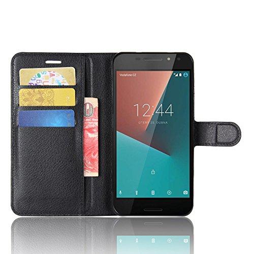 SMTR Vodafone Smart N8 Wallet Tasche Hülle - Ledertasche im Bookstyle in Schwarz - [Ultra Slim][Card Slot][Handyhülle] Flip Wallet Case Etui für Vodafone Smart N8
