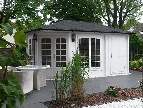 Alpholz 5-Eck Gartenhaus Modell Josephine-40 aus Massiv-Holz | Gerätehaus mit 40 mm Wandstärke | Garten Holzhaus inklusive Montagematerial | Geräteschuppen Größe: 442 x 302 cm