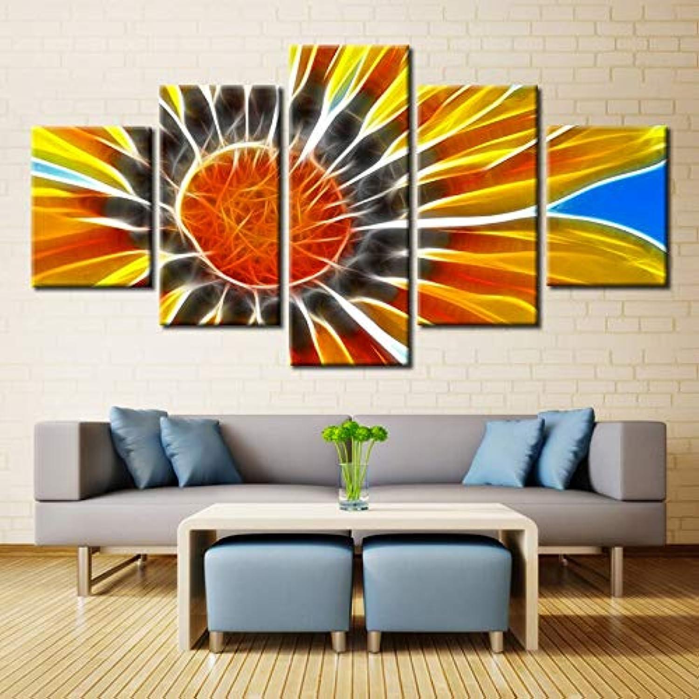 de moda Mmwin Cuadro para la Parojo de la Sala Sala Sala de Estar Diseo de 5 Paneles de Girasol Pintura Arte Abstracto Decoración para el hogar Impresiones de la Lona Impresiones Cartel  ¡envío gratis!