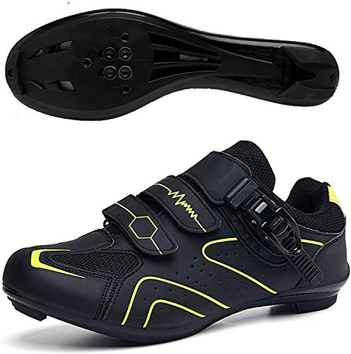 ZQW Zapatos De Ciclismo con Tacos, MTB Bike Road with Wheble Spinning SPD/SPD-S SPD-S SP Pelotón Compatible (Color : Yellow Road, Tamaño : UK-8.5/EU-43/US-9.5)