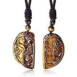 COAI Collar de Pareja de Colgante Piedra Ojo de Tigre Dragón y Fénix 2 Piezas