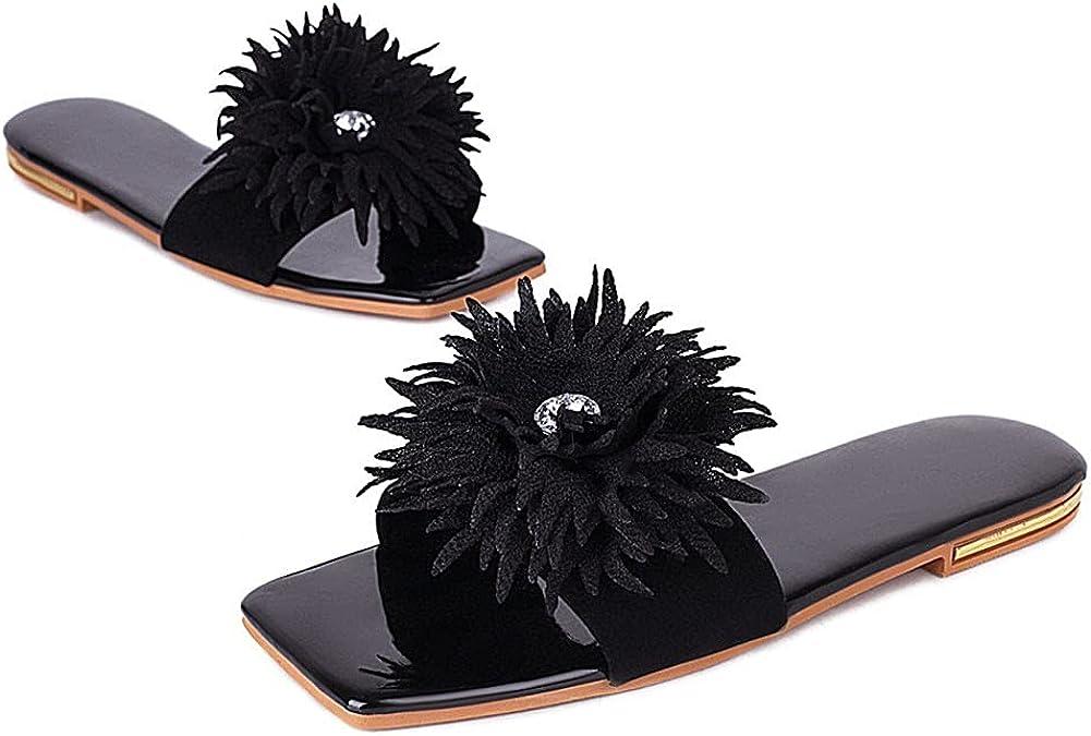Vimisaoi Womens Open Square Toe Flat Sandals Slip On Comfy Casual Slide Sandals Slippers