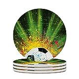 Posavasos para té y futbolín, colorantes, para decoración del hogar, corcho, tazas de oficina, mesa, protección contra manchas, tazas redondas, 4 piezas