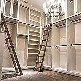Herraje para Puerta Corredera Kit Kit de hardware de biblioteca de escalera de granero deslizante de tubo redondo negro rústico 9.8ft/300cm + riel de extensión (sin escalera), riel de escalera móvil p