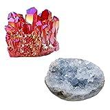 mookaitedecor Bundle - 2 Items: Natural Rock Crystal Cluster Specimen & Celestite Mineral Crystal Geode Cluster for Home Decoration