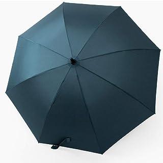 AINIYF Long Handle Solid Color Retro Clear Rain Dual-Purpose Reinforcement Umbrella (Color : Blue)