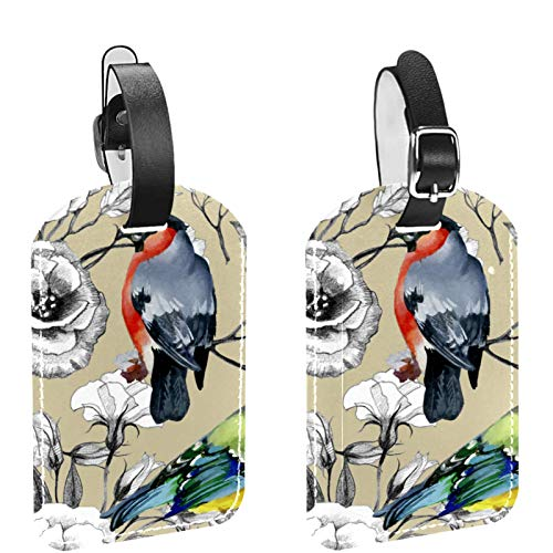 2 paquetes de etiquetas flexibles para equipaje de viaje para bolsas de equipaje, maletas, bolsas escolares, etiquetas de identificación de nombre para viajes, acuarela, cuco, pájaro, rododendro, flor