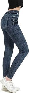 AOGOTO Jeans da donna skinny casual falsa tasca sottile imitazione denim senza cuciture Leggings pantaloni