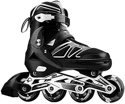 Professionelle verstellbare Inline Skates mit beleuchteten Leuchträdern für Männer und Frauen Einreihige Rollerblades Anfänger Fitness Rollschuhe für Kinder Teenager Erwachsene (Schwarz,XL(42-45))