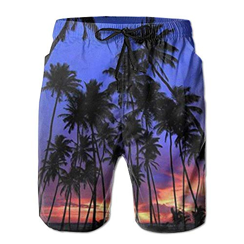GOSMAO Pa de Playa para Hombre Nueva Palmera Tropical Esta nochents, Shorts Beach Shorts Bañadores