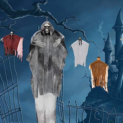 LessMo Halloween Hängender Geist, Halloween Hängende Skelette Dekoration, Gruselige Gespenst Realistisches Skelett Geist Spukhaus Horrorhäuser Deko Motto Party