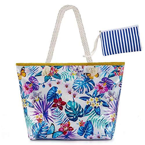 Czemo Große Strandtasche mit Reißverschluss und Innentasche Wasserdicht Badetasche Einkaufstasche Shopper für Damen (26)