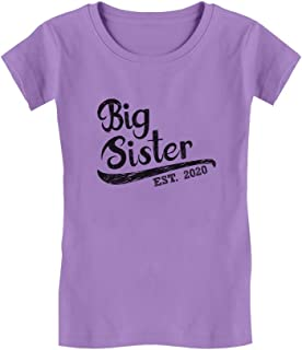 Girls Big Sister Est 2020 Sibling Gifts Toddler Kids Girls' Fitted T-Shirt