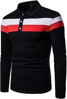 qianqianq Mens Stitch Button Down Turn-Down Collar Long-Sleeve Sport Polo Shirt