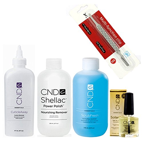 CND Scrub Fresh 236ml + CND Nourishing Remover 236ml + CND Cuticle Away 118ml & CND Solar Oil 7.3ml [FREE STAINLESS STEEL CUTICLE PUSHER]