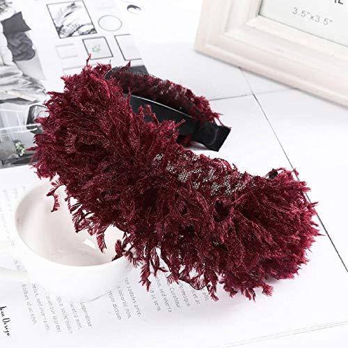 Diadema de Felpa de Moda Tiara Mujer Invierno Creativo Bisel Llantas Cabeza aro Tocado Color sólido Accesorios para el Cabello-Vino Rojo