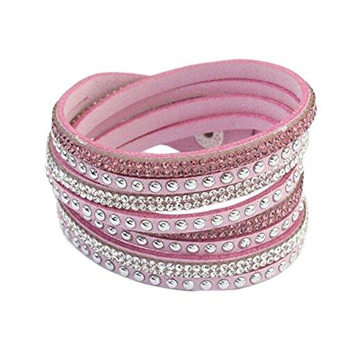 Leisial Pulsera de Cuero Vendimia Brazalete Trenzada Cadena de Múltiples para Hombre Mujer Regalo de Cumpleaños Día de San Valentín Accesorios Joyería