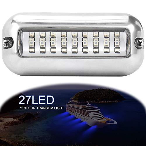 ALLOMN Luz de Navegación para Barco, 50W 12V 27 LED Lámpara de Navegación Verde Blanco Azul Luz Marina IP68 Impermeable bajo el Agua Acero Inoxidable Luz de Haz de Barco (Azul)