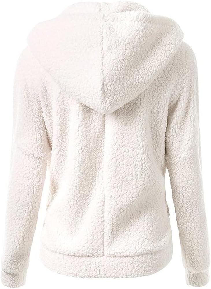 Women's Fleece Hooded Zipper Coat Hooded Sweater Overcoat Winter Warm Wool Windbreaker Cotton Thicken Windproof Outwear