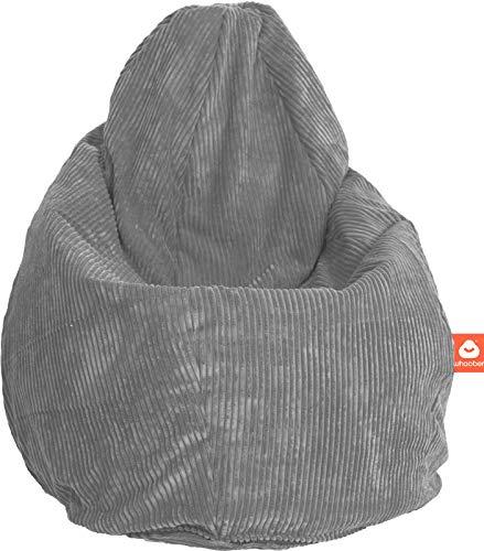 """WHOOBER \""""Barça Indoor-Sitzsack Grau aus weichem Cord-Stoff - Ø 84 cm (Höhe: 146 cm) - für Drinnen - komfortable Birnenform/Tropfenform - Waschbar - Langlebige Qualität"""