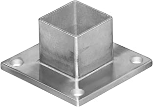 Stainless Steel Square Base Long Neck Floor Floor Flange Component Post Holder (For Intermediate Square Posts)